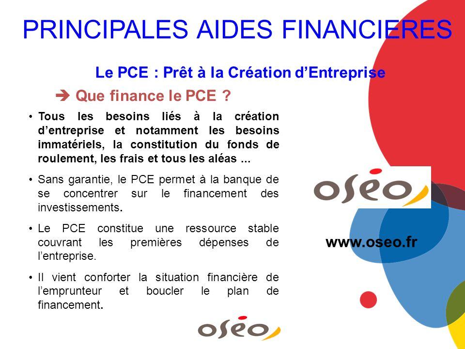 Le PCE : Prêt à la Création dEntreprise Que finance le PCE ? Tous les besoins liés à la création dentreprise et notamment les besoins immatériels, la