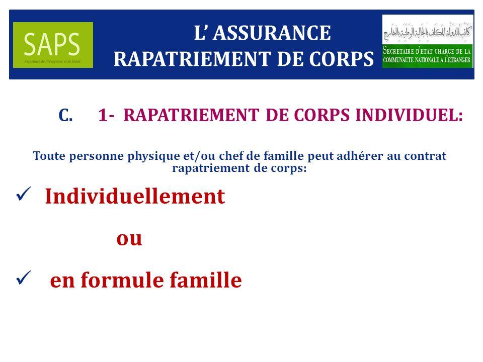 L ASSURANCE RAPATRIEMENT DE CORPS C.1- RAPATRIEMENT DE CORPS INDIVIDUEL: Toute personne physique et/ou chef de famille peut adhérer au contrat rapatriement de corps: Individuellement ou en formule famille