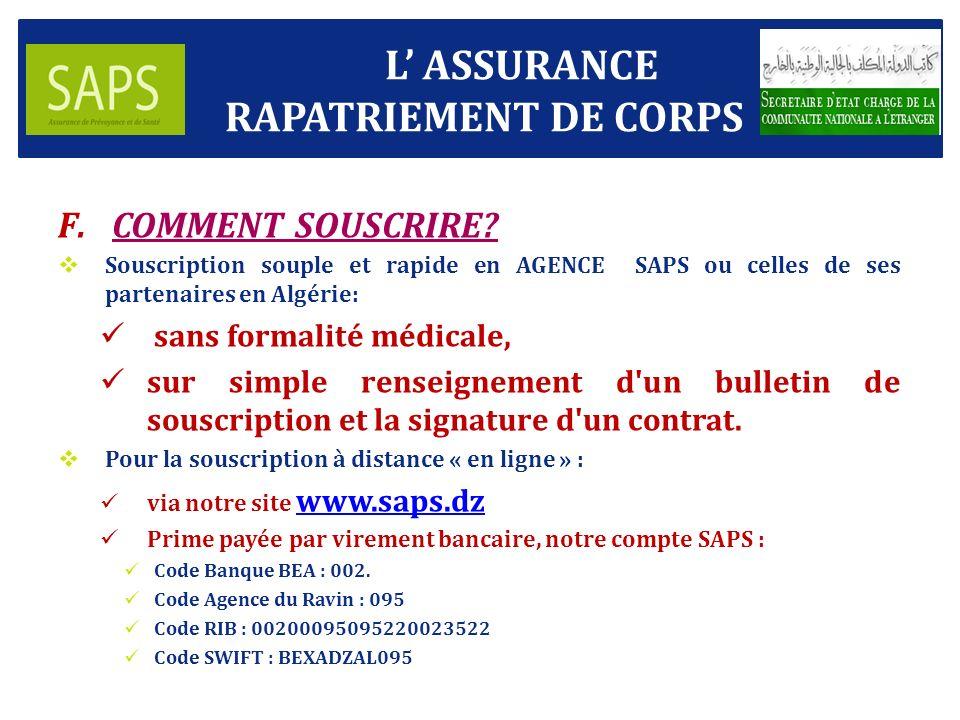 F.COMMENT SOUSCRIRE.