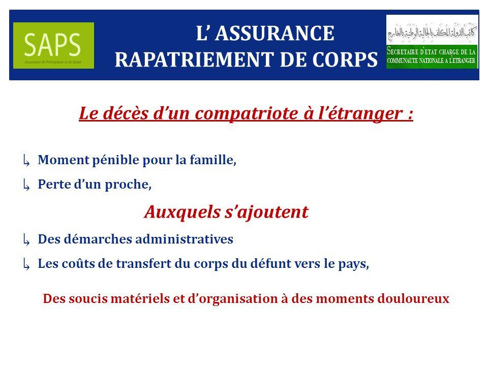 La police dassurance « RAPATRIEMENT DE CORPS » de la SAPS permet à lassuré : Dêtre sûr que son inhumation se fera en Algérie, au lieu choisi.