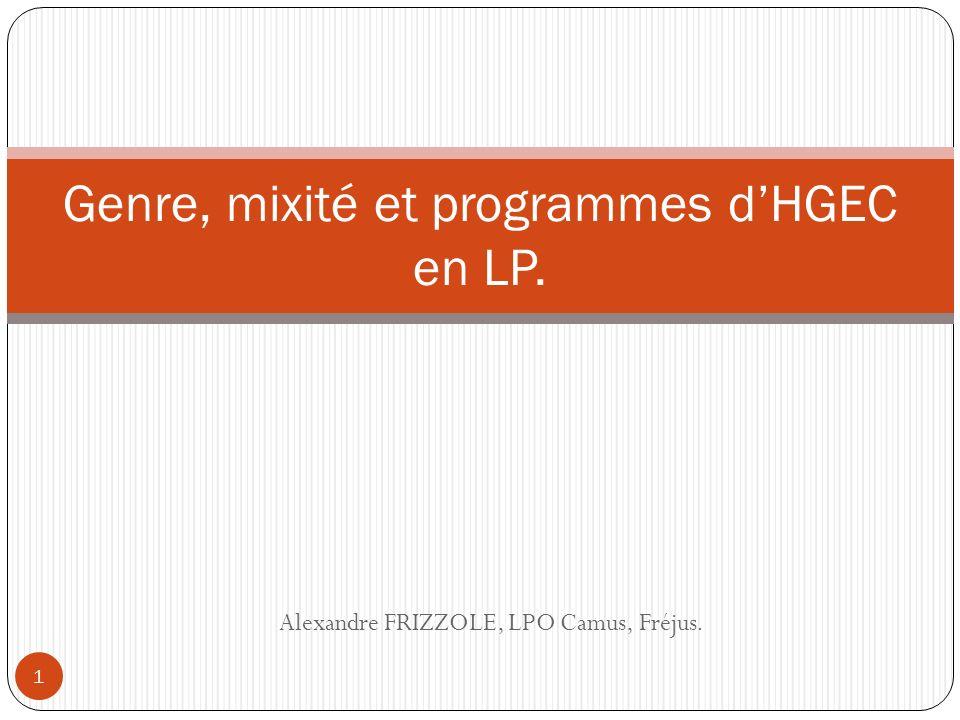 Alexandre FRIZZOLE, LPO Camus, Fréjus. Genre, mixité et programmes dHGEC en LP. 1