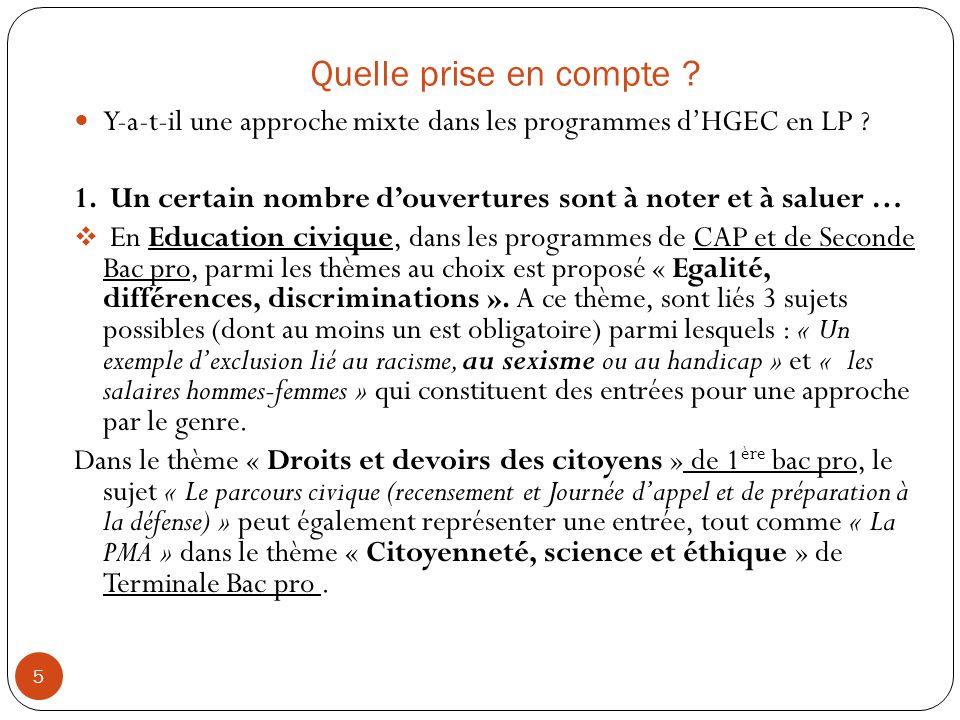 Quelle prise en compte .5 Y-a-t-il une approche mixte dans les programmes dHGEC en LP .