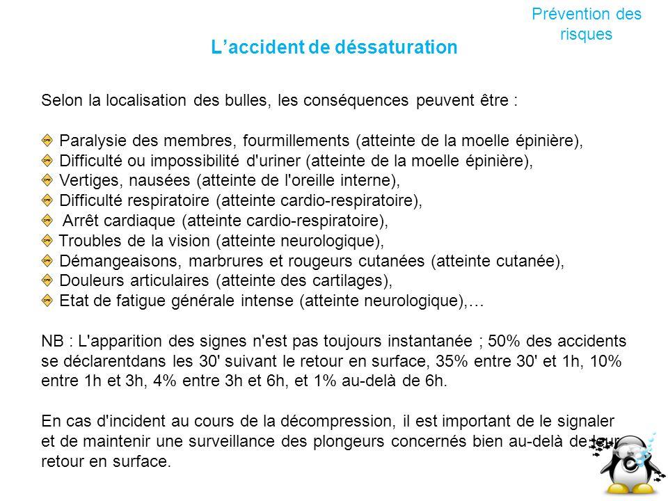Laccident de déssaturation Prévention des risques Selon la localisation des bulles, les conséquences peuvent être : Paralysie des membres, fourmilleme