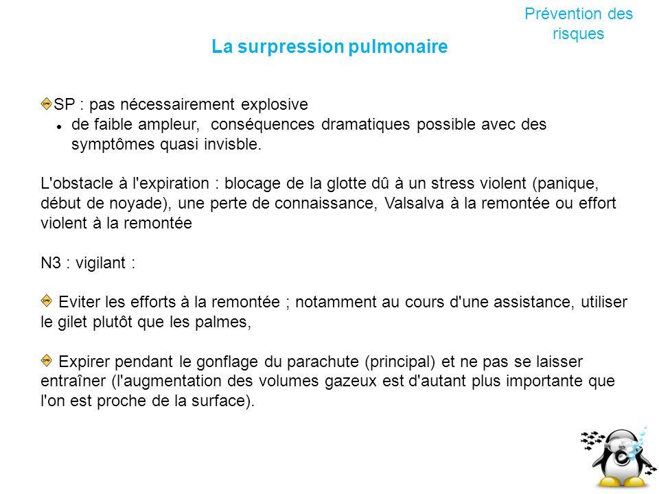 La surpression pulmonaire Prévention des risques SP : pas nécessairement explosive de faible ampleur, conséquences dramatiques possible avec des sympt