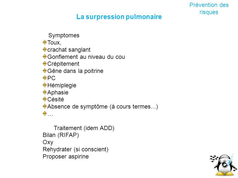 La surpression pulmonaire Prévention des risques Symptomes Toux, crachat sanglant Gonflement au niveau du cou Crépitement Gêne dans la poitrine PC Hém