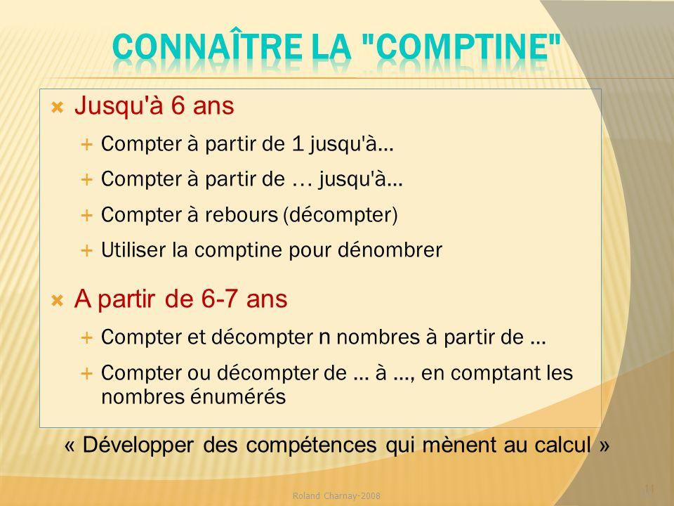 Jusqu'à 6 ans Compter à partir de 1 jusqu'à… Compter à partir de … jusqu'à… Compter à rebours (décompter) Utiliser la comptine pour dénombrer A partir