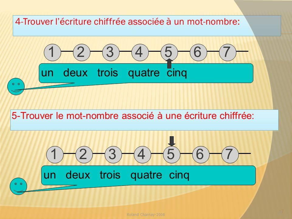4-Trouver lécriture chiffrée associée à un mot-nombre: 17 Roland Charnay-2008 17 un deux trois quatre cinq 12345671234567 12345671234567 5-Trouver le