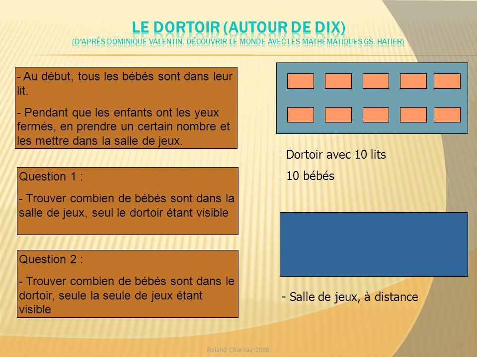 27 Roland Charnay-2008 27 - Dortoir avec 10 lits - 10 bébés - Salle de jeux, à distance Question 1 : - Trouver combien de bébés sont dans la salle de