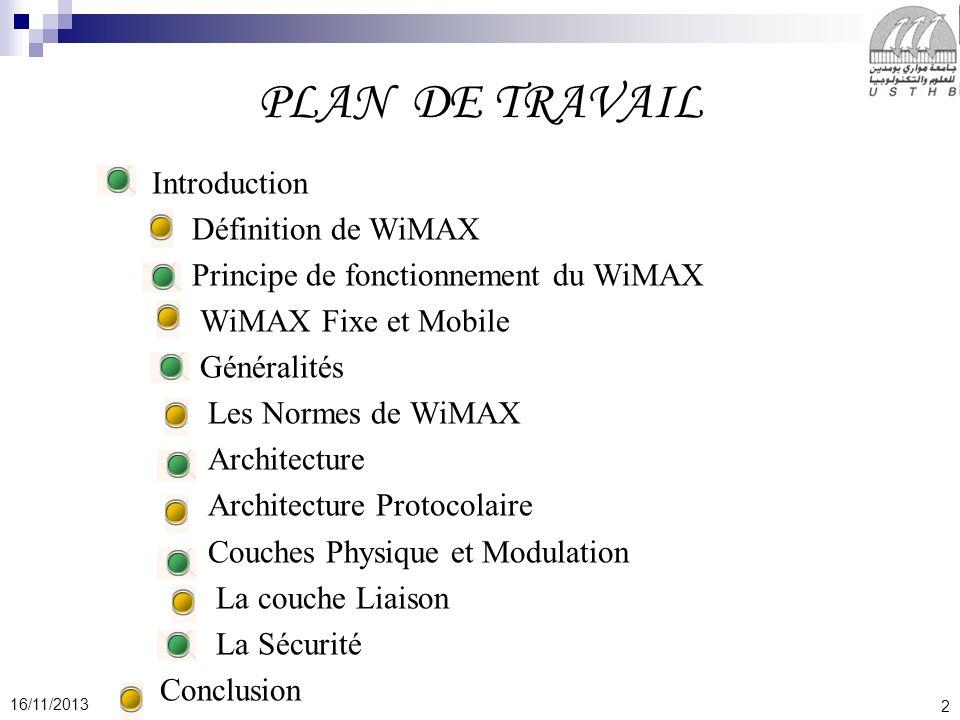 2 16/11/2013 PLAN DE TRAVAIL Introduction Définition de WiMAX Principe de fonctionnement du WiMAX WiMAX Fixe et Mobile Généralités Les Normes de WiMAX