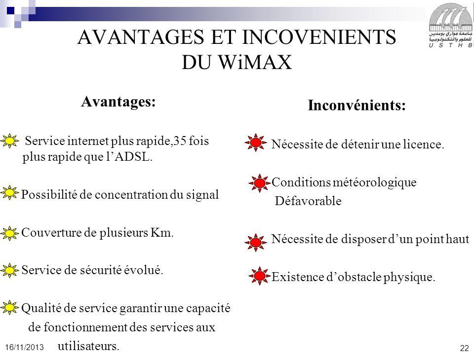 22 16/11/2013 AVANTAGES ET INCOVENIENTS DU WiMAX Avantages: Service internet plus rapide,35 fois plus rapide que lADSL. Possibilité de concentration d