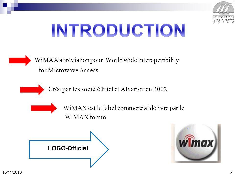 3 16/11/2013 WiMAX abréviation pour WorldWide Interoperability for Microwave Access Crée par les société Intel et Alvarion en 2002. WiMAX est le label