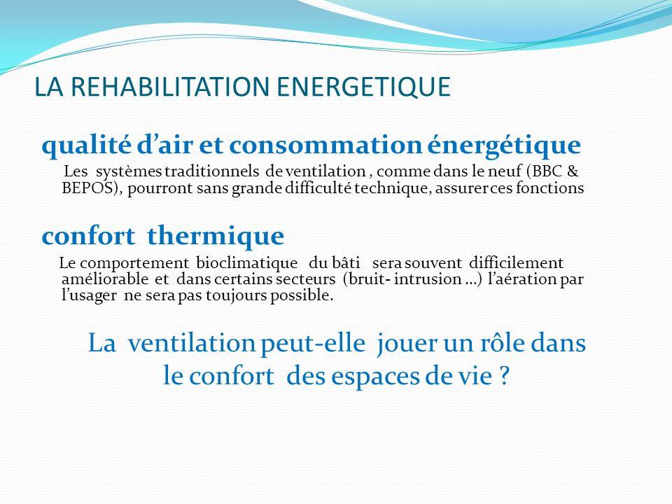LA REHABILITATION ENERGETIQUE qualité dair et consommation énergétique Les systèmes traditionnels de ventilation, comme dans le neuf (BBC & BEPOS), po