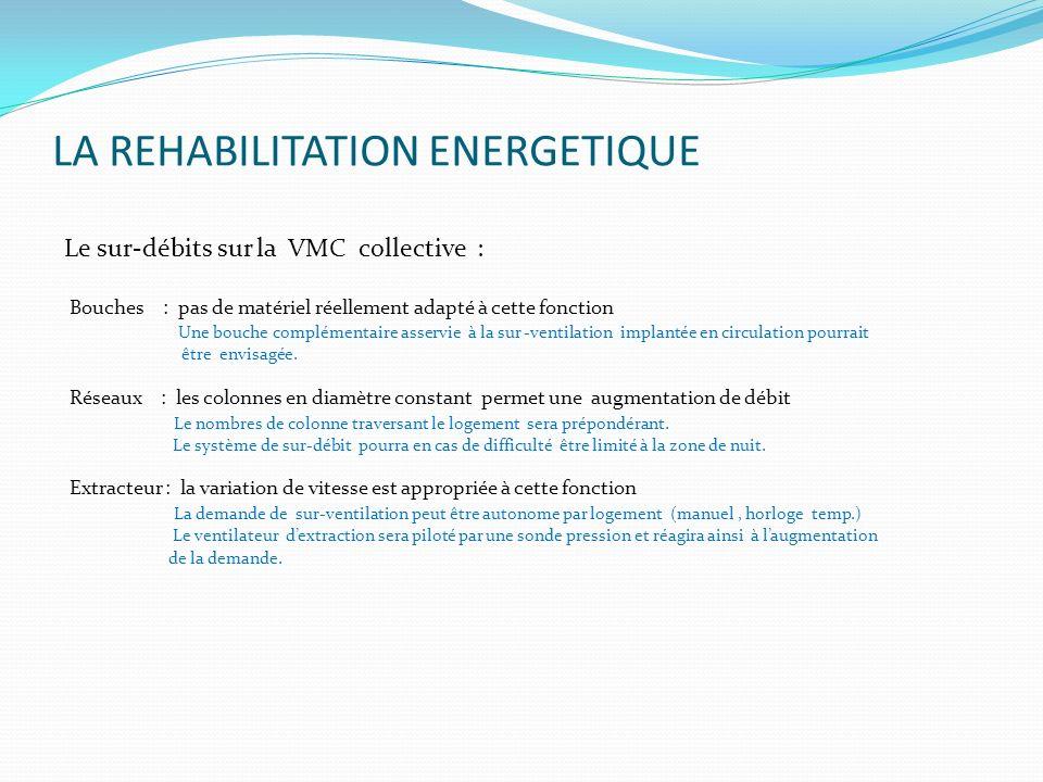 LA REHABILITATION ENERGETIQUE Le sur-débits sur la VMC collective : Bouches : pas de matériel réellement adapté à cette fonction Une bouche complément