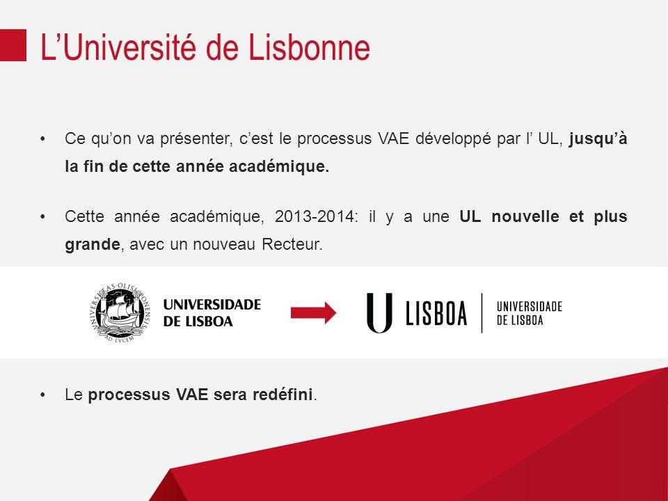 Ce quon va présenter, cest le processus VAE développé par l UL, jusquà la fin de cette année académique.