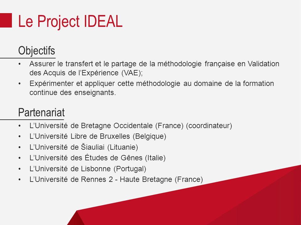 Objectifs Assurer le transfert et le partage de la méthodologie française en Validation des Acquis de lExpérience (VAE); Expérimenter et appliquer cette méthodologie au domaine de la formation continue des enseignants.