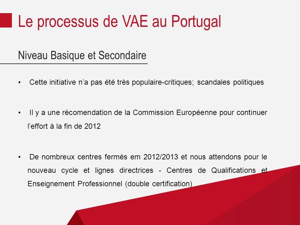 Niveau Basique et Secondaire Cette initiative na pas été très populaire-critiques; scandales politiques Il y a une récomendation de la Commission Européenne pour continuer leffort à la fin de 2012 De nombreux centres fermés em 2012/2013 et nous attendons pour le nouveau cycle et lignes directrices - Centres de Qualifications et Enseignement Professionnel (double certification) Le processus de VAE au Portugal