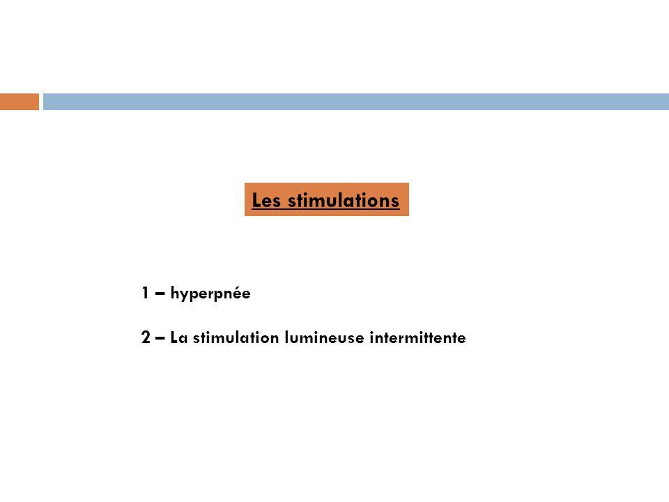 Les stimulations 1 – hyperpnée 2 – La stimulation lumineuse intermittente