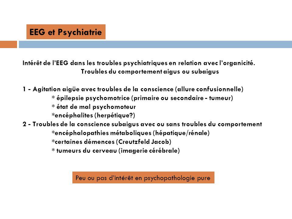 Intérêt de lEEG dans les troubles psychiatriques en relation avec lorganicité. Troubles du comportement aigus ou subaigus 1 - Agitation aigüe avec tro