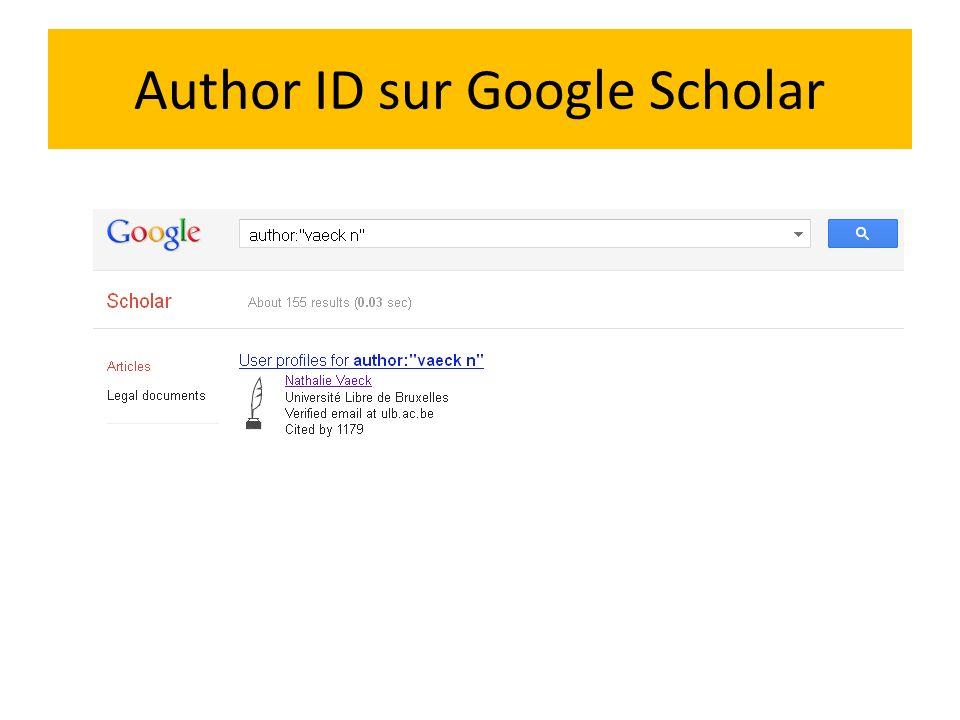 Author ID sur Google Scholar