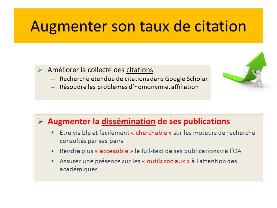 Augmenter son taux de citation Améliorer la collecte des citations – Recherche étendue de citations dans Google Scholar – Résoudre les problèmes dhomo