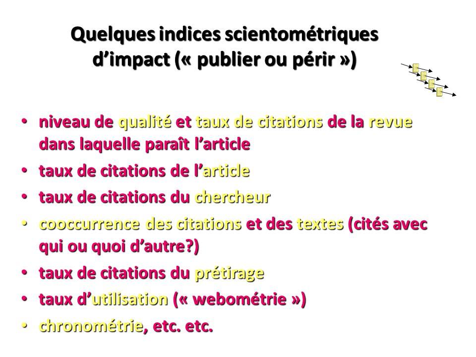 Quelques indices scientométriques dimpact (« publier ou périr ») niveau de qualité et taux de citations de la revue dans laquelle paraît larticle nive