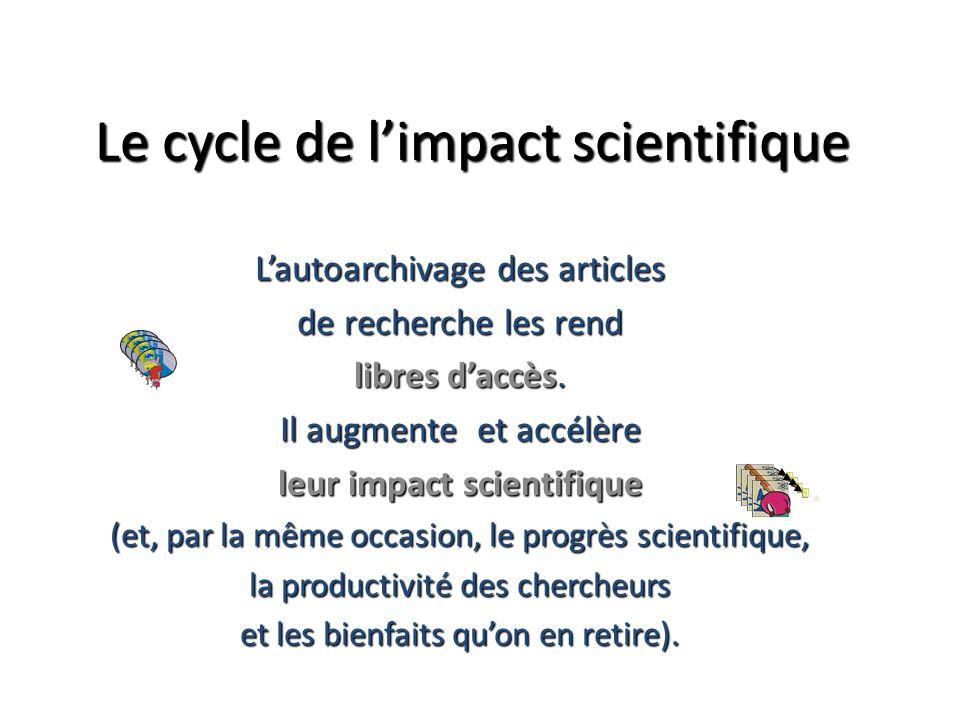 Le cycle de limpact scientifique Lautoarchivage des articles de recherche les rend libres daccès. Il augmente et accélère leur impact scientifique (et