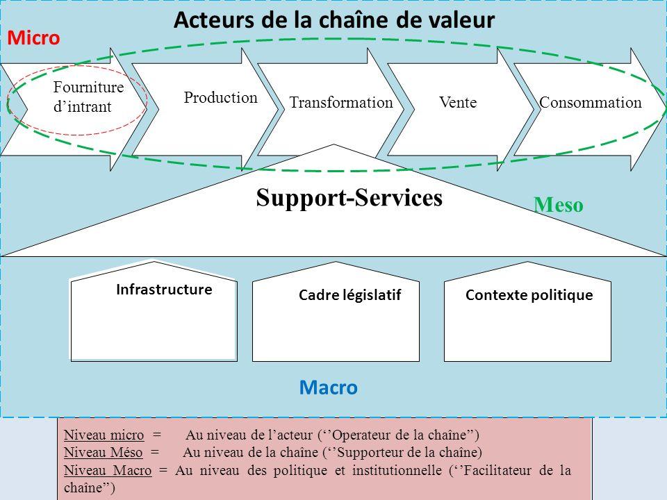 Micro Transformation VenteConsommation Production Support-Services Infrastructure Cadre législatifContexte politique Niveau micro = Au niveau de lacte