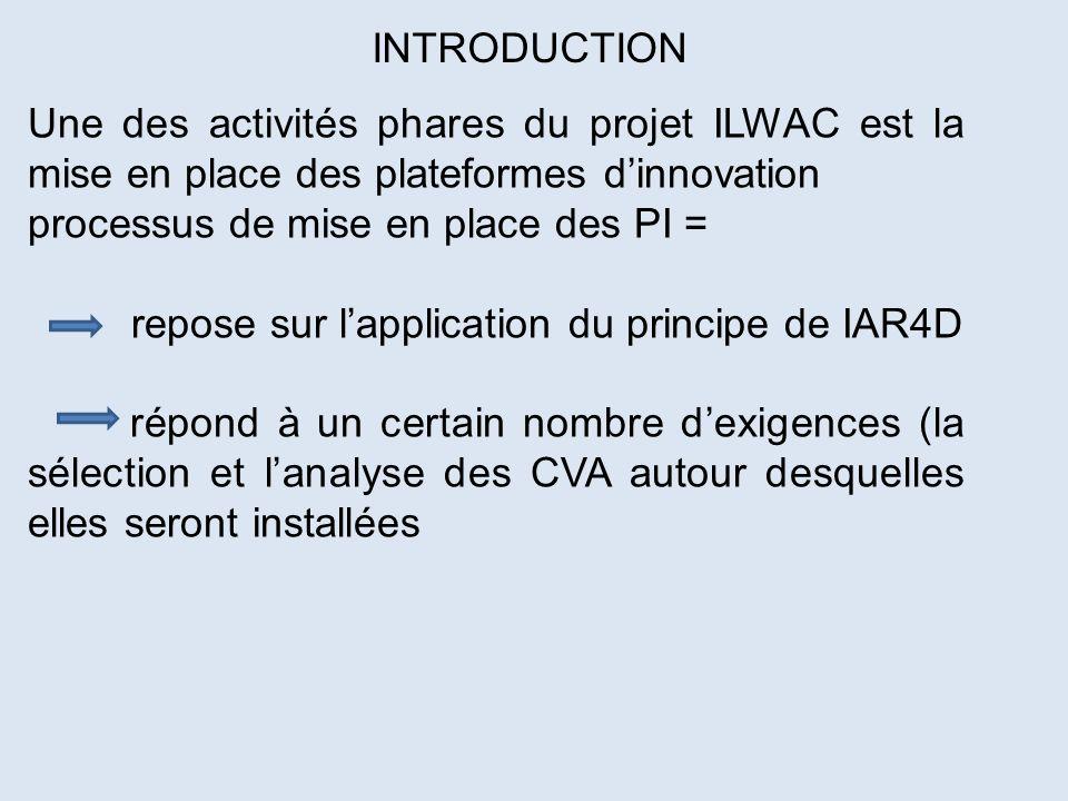 Une des activités phares du projet ILWAC est la mise en place des plateformes dinnovation processus de mise en place des PI = repose sur lapplication