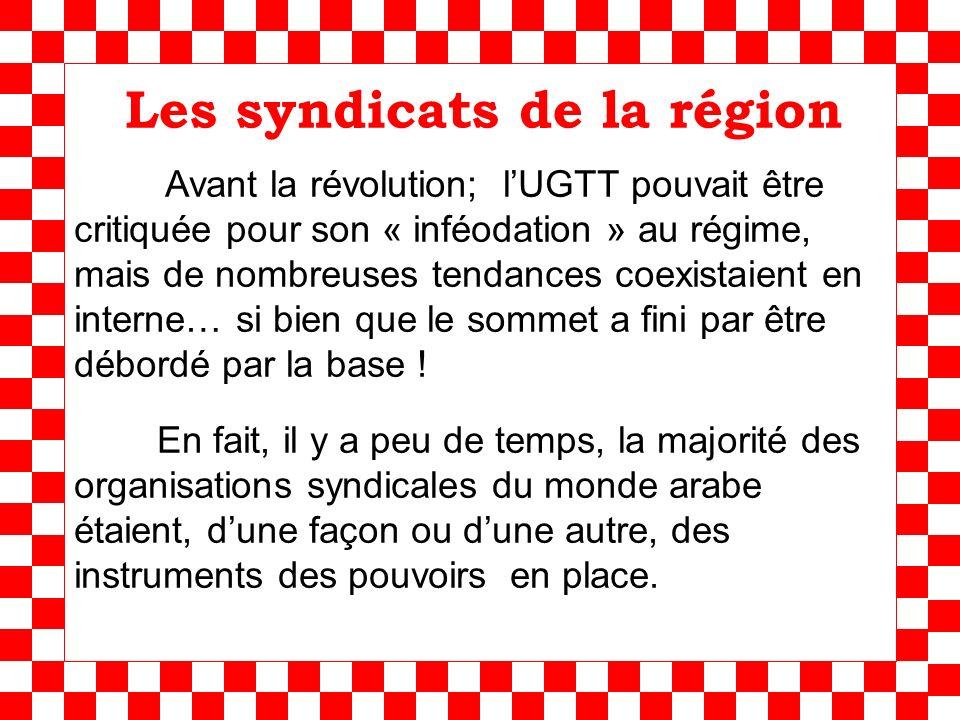 Les syndicats de la région Avant la révolution; lUGTT pouvait être critiquée pour son « inféodation » au régime, mais de nombreuses tendances coexistaient en interne… si bien que le sommet a fini par être débordé par la base .