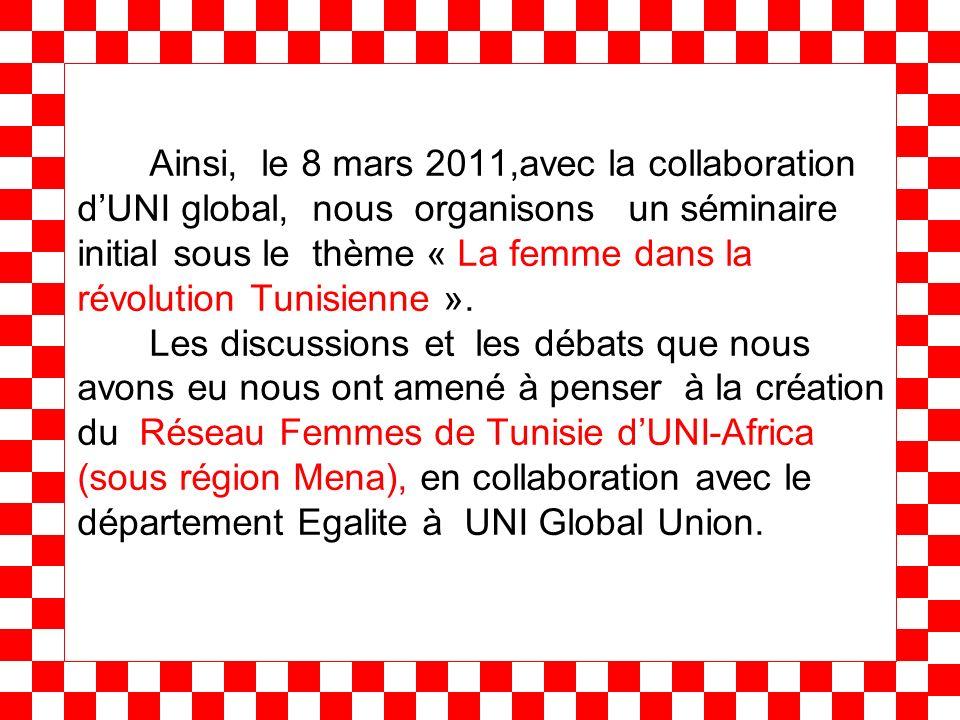 Ainsi, le 8 mars 2011,avec la collaboration dUNI global, nous organisons un séminaire initial sous le thème « La femme dans la révolution Tunisienne »