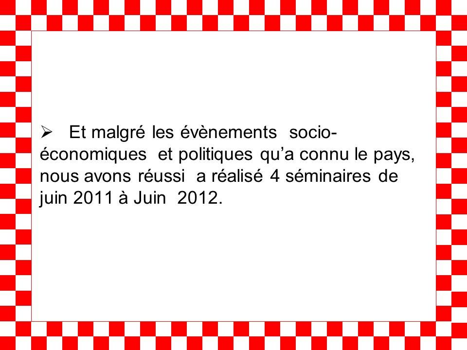 Et malgré les évènements socio- économiques et politiques qua connu le pays, nous avons réussi a réalisé 4 séminaires de juin 2011 à Juin 2012.