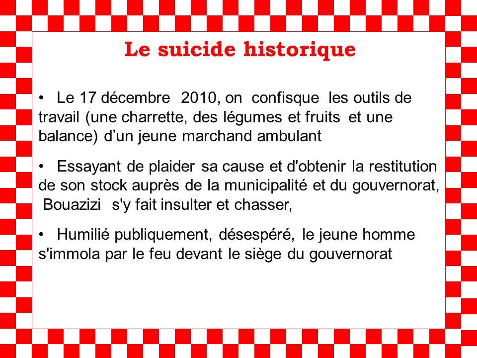 Le suicide historique Le 17 décembre 2010, on confisque les outils de travail (une charrette, des légumes et fruits et une balance) dun jeune marchand