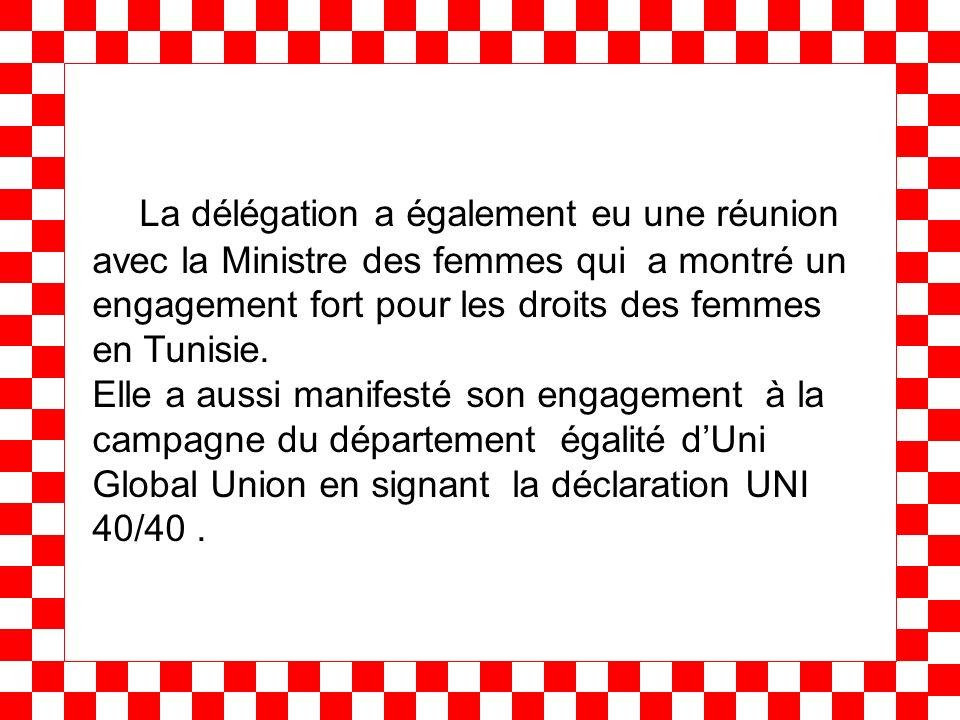 La délégation a également eu une réunion avec la Ministre des femmes qui a montré un engagement fort pour les droits des femmes en Tunisie. Elle a aus