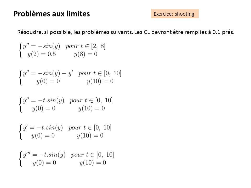 Problèmes aux limites Exercice: shooting Résoudre, si possible, les problèmes suivants. Les CL devront être remplies à 0.1 prés.