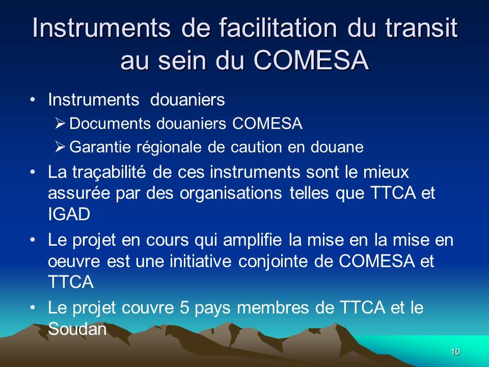 10 Instruments de facilitation du transit au sein du COMESA Instruments douaniers Documents douaniers COMESA Garantie régionale de caution en douane L