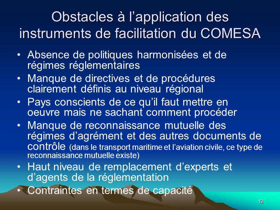 12 Obstacles à lapplication des instruments de facilitation du COMESA Absence de politiques harmonisées et de régimes réglementaires Manque de directi