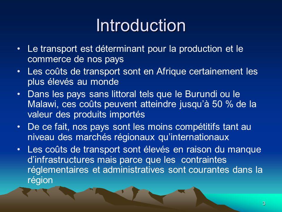 3 Introduction Le transport est déterminant pour la production et le commerce de nos pays Les coûts de transport sont en Afrique certainement les plus