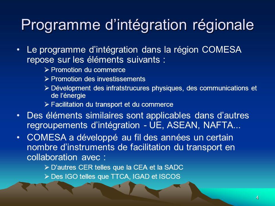 4 Programme dintégration régionale Le programme dintégration dans la région COMESA repose sur les éléments suivants : Promotion du commerce Promotion
