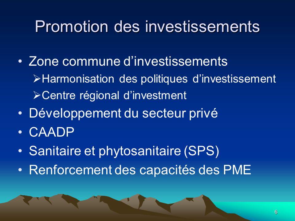 6 Promotion des investissements Zone commune dinvestissements Harmonisation des politiques dinvestissement Centre régional dinvestment Développement d