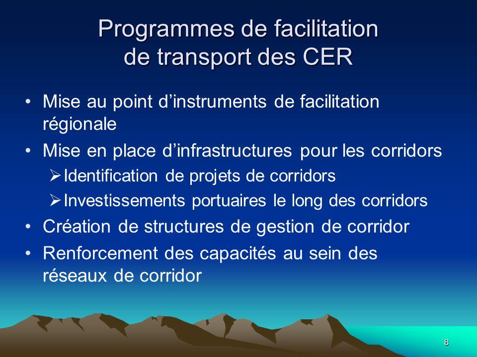 8 Programmes de facilitation de transport des CER Mise au point dinstruments de facilitation régionale Mise en place dinfrastructures pour les corrido