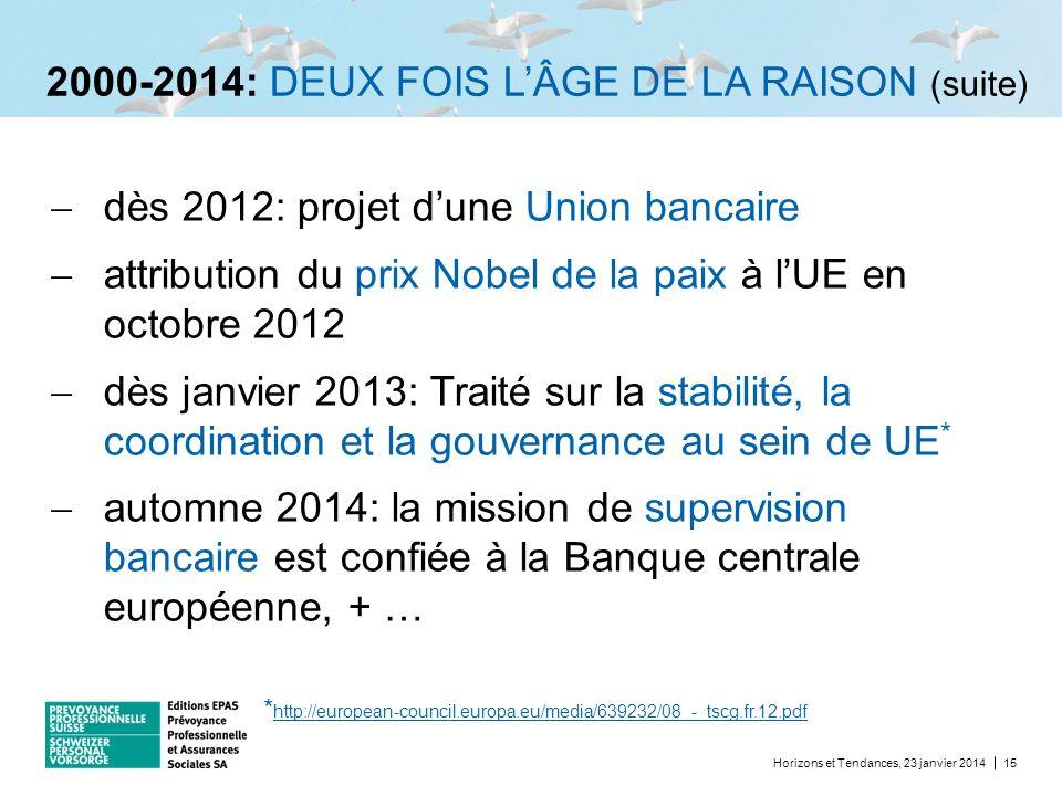 2000-2014: DEUX FOIS LÂGE DE LA RAISON (suite) dès 2012: projet dune Union bancaire attribution du prix Nobel de la paix à lUE en octobre 2012 dès jan