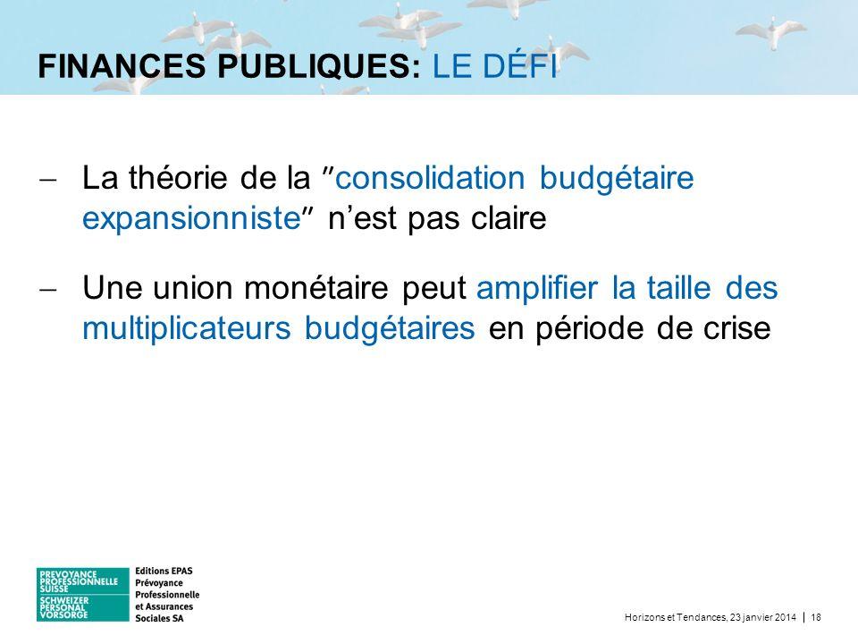 FINANCES PUBLIQUES: LE DÉFI Horizons et Tendances, 23 janvier 201418 La théorie de la consolidation budgétaire expansionniste nest pas claire Une unio