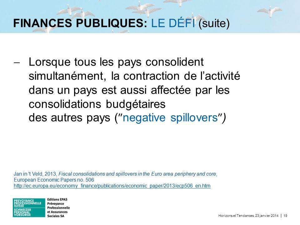 FINANCES PUBLIQUES: LE DÉFI (suite) Horizons et Tendances, 23 janvier 201419 Lorsque tous les pays consolident simultanément, la contraction de lactiv
