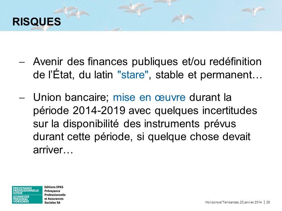 RISQUES Horizons et Tendances, 23 janvier 201426 Avenir des finances publiques et/ou redéfinition de lÉtat, du latin