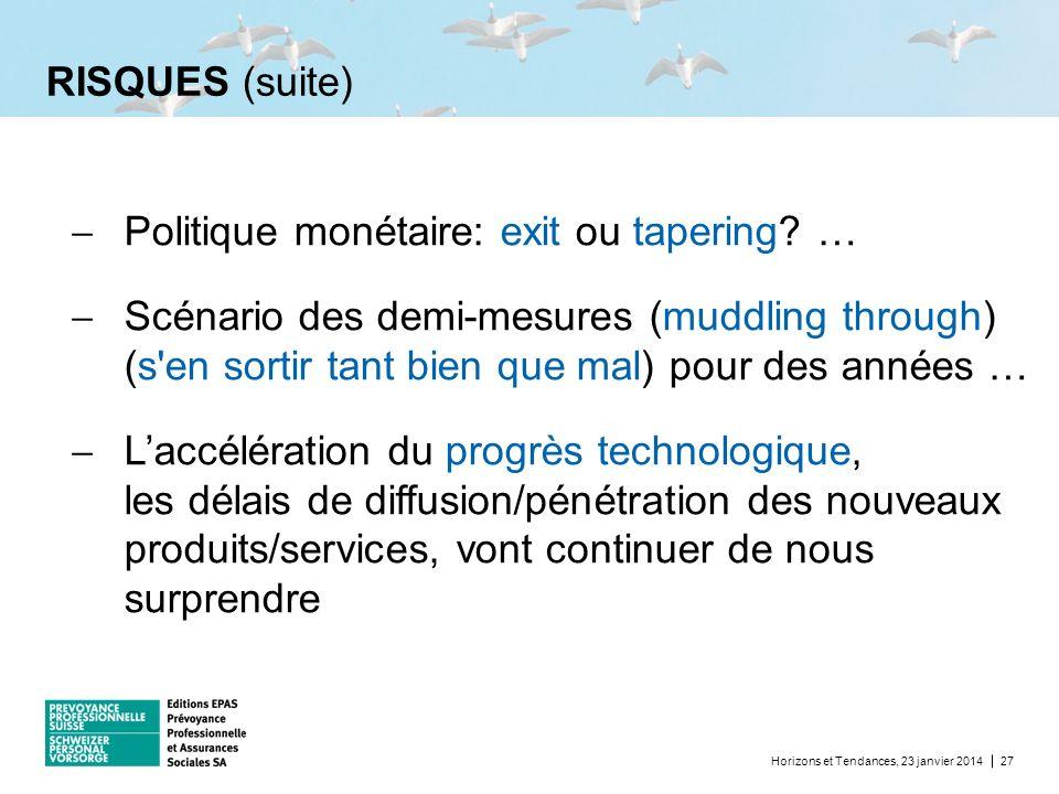 RISQUES (suite) Horizons et Tendances, 23 janvier 201427 Politique monétaire: exit ou tapering? … Scénario des demi-mesures (muddling through) (s'en s