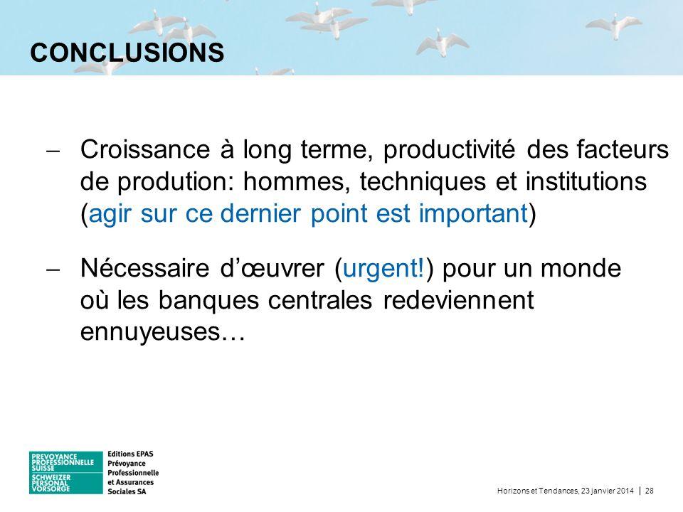 CONCLUSIONS Horizons et Tendances, 23 janvier 201428 Croissance à long terme, productivité des facteurs de prodution: hommes, techniques et institutio