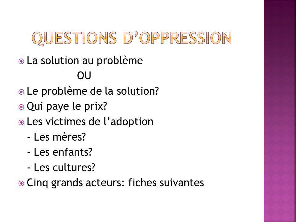 La solution au problème OU Le problème de la solution.