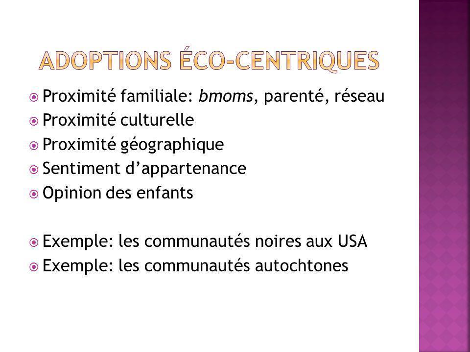 Proximité familiale: bmoms, parenté, réseau Proximité culturelle Proximité géographique Sentiment dappartenance Opinion des enfants Exemple: les communautés noires aux USA Exemple: les communautés autochtones