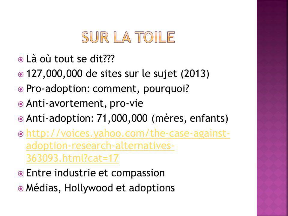 Là où tout se dit . 127,000,000 de sites sur le sujet (2013) Pro-adoption: comment, pourquoi.