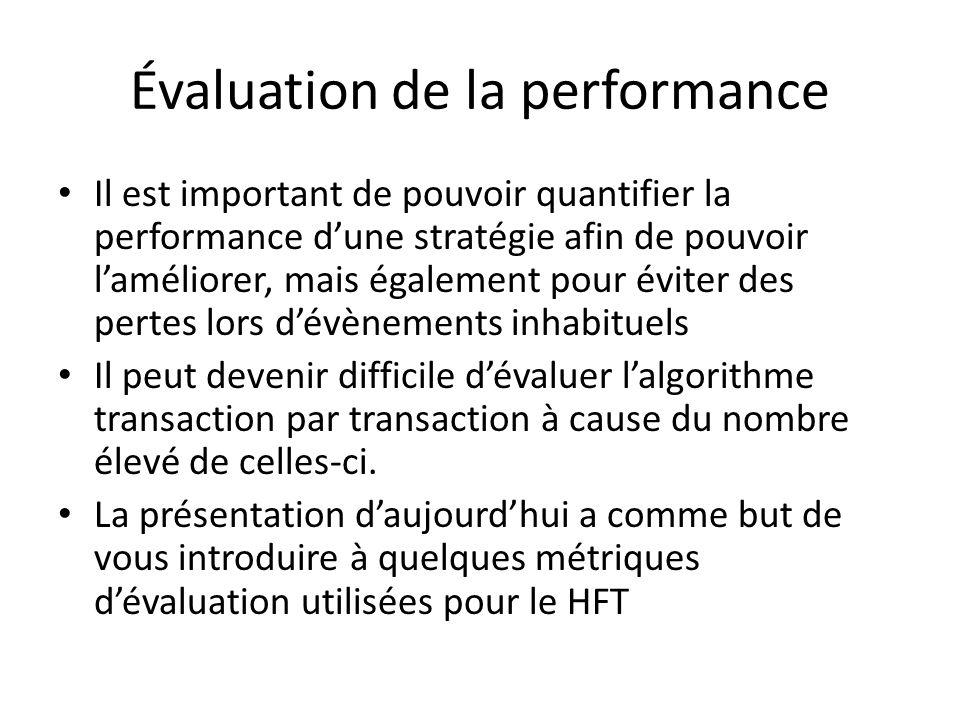 Évaluation de la performance Il est important de pouvoir quantifier la performance dune stratégie afin de pouvoir laméliorer, mais également pour éviter des pertes lors dévènements inhabituels Il peut devenir difficile dévaluer lalgorithme transaction par transaction à cause du nombre élevé de celles-ci.